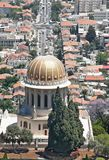 Bahai temple on background of Haifa Stock Images
