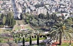 Bahai temple and city of haifa, israel royalty free stock image