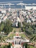 Bahai temple and city of haifa, israel stock photography