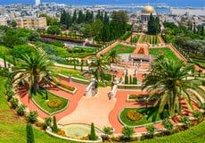 Bahai trädgårdar i Haifa Israel. Arkivfoto