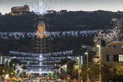 Bahai uprawia ogródek w Niemieckiej koloni dekorującej dla wakacji w Haifa, Izrael Obraz Royalty Free