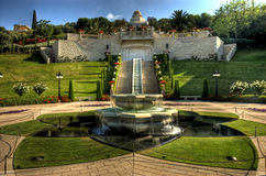 Bahaian Gardens. Baha'i Shrine in Haifa on the coast of Israel. The Baha'i faith preaches unity of all world religions stock images