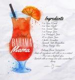 Bahama妈妈鸡尾酒水彩 图库摄影