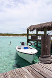 Bahama Boat Dock. Beautiful private and secluded islands in the Bahamas Royalty Free Stock Photo