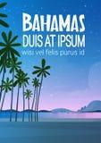 Bahamans Dennego brzeg plaża Po zmierzchu nadmorski krajobrazu wakacje Pięknego pojęcia ilustracji