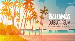 Bahamans Sea Shore Beach On Sunset Beautiful Seaside Landscape Summer Vacation Concept. Flat Vector Illustration royalty free illustration