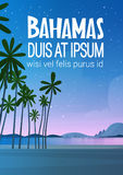 Bahamans Sea Shore Beach After Sunset Beautiful Seaside Landscape Summer Vacation Concept. Flat Vector Illustration stock illustration