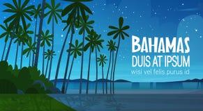 Bahamans Sea Shore Beach After Sunset Beautiful Seaside Landscape Summer Vacation Concept. Flat Vector Illustration royalty free illustration