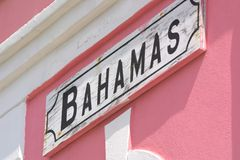 Bahamas. Welcome to the Bahamas - Bimini Island. A sign is wall-mounted Royalty Free Stock Photo