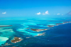 Bahamas aerial. Beautiful view of Bahamas islands from above stock image