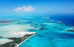 Bahamas aerial. Beautiful view of Bahamas islands from above royalty free stock image