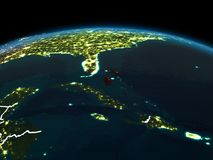 Bahamas auf Erde nachts Lizenzfreie Stockfotografie