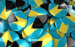 Bahamas Badges Background - Pile of Bahamian Flag Buttons. Royalty Free Stock Images