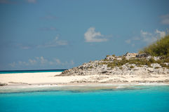 Bahamas beach. Turquoise water against blue sky Stock Images
