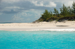 Bahamas beach. Turquoise water against blue sky Stock Photos