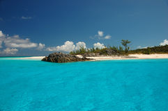 Bahamas beach. Turquoise water against blue sky Royalty Free Stock Image