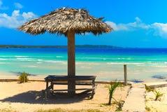 Bahamas beach. And vacation under the shadow stock photography