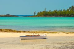 Bahamas beach and boat Royalty Free Stock Photo