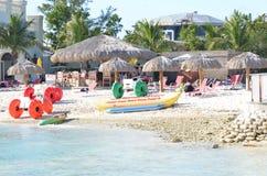 Bahamas Beach. Bahamas island beach side with sport activities items, umbrella etc., for vacationing stock images