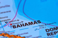 Bahamas Caribbean Island on Map Stock Image