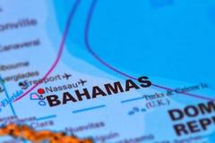 Bahamas Caribbean Island on Map. Bahamas and Capital Nassau on the World Map stock image