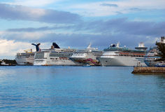 Bahamas Cruise Ships at Port. Five different cruise ships at port in the Bahamas Stock Image