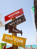 Bahamas distance sign to vacation locations Royalty Free Stock Images