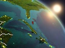 Bahamas do espaço durante o nascer do sol Foto de Stock Royalty Free