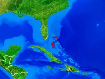 Bahamas on Earth with borders. Bahamas from space on model of planet Earth with country borders and very detailed planet surface. 3D illustration. Elements of stock images