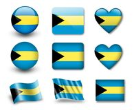 The Bahamas flag. Set of icons and flags. glossy and matte on a white background Stock Images