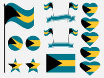 Bahamas flag set. Collection of symbols, flag in heart. Vector Royalty Free Stock Photos