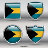 Bahamas Flag in 4 shapes collection with clipping path stock photography
