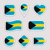 The Bahamas flag vector set. Bahamian flags stickers collection. Isolated geometric icons. National symbols badges. Web vector illustration