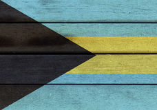 Bahamas flag on a wood Stock Images
