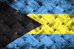 Bahamas flagga, flagga på trät Royaltyfri Foto