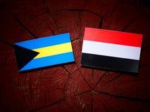 Bahamas flagga med den jemenitiska flaggan på en trädstubbe Arkivfoton