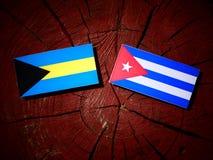 Bahamas flagga med den kubanska flaggan på en isolerad trädstubbe Royaltyfri Foto