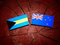 Bahamas flagga med den nyazeeländska flaggan på en isolerad trädstubbe Royaltyfria Bilder