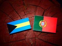 Bahamas flagga med den portugisiska flaggan på en isolerad trädstubbe Arkivbild