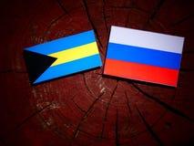 Bahamas flagga med den ryska flaggan på en trädstubbe Arkivfoton