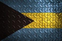 Bahamas flagga metalltextur på bakgrund Royaltyfria Bilder