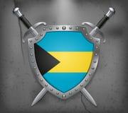 bahamas flagga Skölden har flaggaillustrationen Fotografering för Bildbyråer