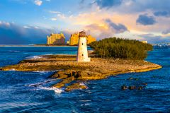 Bahamas Lighthouse with Resort. A Massive Tropical Resort near Nassau in the Bahamas with Lighthouse royalty free stock photography