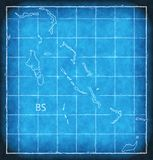 Bahamas map blue print artwork illustration silhouette Royalty Free Stock Photography
