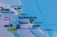 The Bahamas on map. Close up shot of The Bahamas. is an archipelagic state within the Lucayan Archipelago Stock Photo