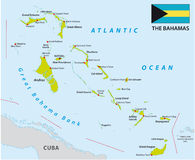 Bahamas map with flag Stock Image