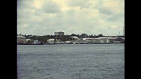 Bahamas New Providence. Island coastline and ports with boats in 70`s. The historical Bahamas in 1978 stock video