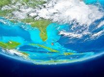 Bahamas på jordklotet från utrymme Royaltyfri Bild