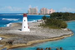The Bahamas Paradise. The view of Paradise Island with a lighthouse in front of it (The Bahamas Stock Photography