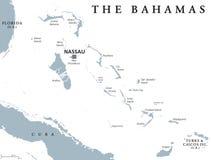 The Bahamas political map Royalty Free Stock Photo